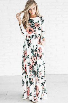 f24966ffd1d  18.61 Dresswe.com SUPPLIES Boho Dress Long Sleeve Floral Print Women s Maxi  Dress