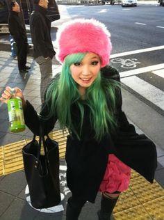 What little cutie! Green hair <3 ~kawaii~ :3