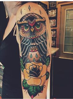 my owl done by my amazing boyfriend Jared Weippert. #owl #girlswithtattoos #traditional