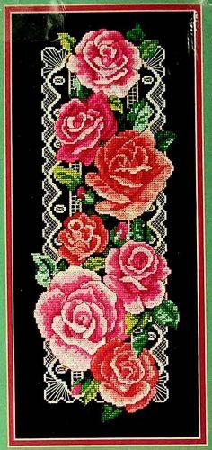 "Regal Roses Counted Cross Stitch Kit Black Aida 7"" x 16"" 3737 Avery NIP 1993"