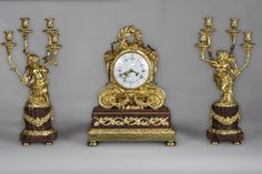 BALTHAZARD, Clockmaker - Clock set with putto and satyre child decor made out of Red Griotte marble and gilded bronze - Clocks, garnitures Luxury Furniture Stores, Fireplace Set, Furniture Near Me, Rococo Style, Louis Xvi, Kids Decor, French Antiques, Making Out, Bracelet Watch