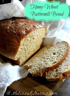 Honey Wheat Buttermilk Sandwich bread recipe. This melts in your mouth and is so light. you'd think it was made with regular white flour. My husband thanked me for making this bread it was soo good.