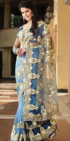 Blue Net Saree