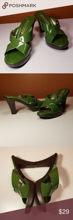 BANDOLINO Sandals, Size 8.5 M Beautiful GREEN Bandolino PATENT LEATHER sandals, with 4-inch thicker heels and a 3/4 inch platform. Genuine leather upper, man made balance. Reposh - I fell in love with them, thought I could wear them because of the platform but decided they are still too high for me. I tried them out in my home on carpet. *EUC* (I think they are brand new and never worn.) Bandolino Shoes Sandals