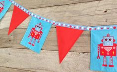 Cool Retro Robot Banner great for birthday by SummerLimeDesigns, $12.95 https://www.etsy.com/au/listing/197807434/cool-retro-robot-banner-great-for?ref=listing-12