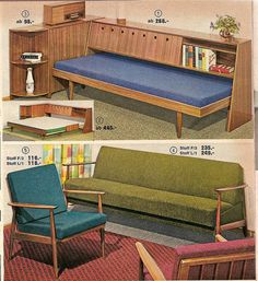 Sofabeds, 1963 Quelle catalog - Man! I love clever design. I think Mom had that chair. It seems very familiar.