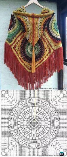 Crochet Granny Square Poncho Beautiful New Ideas Crochet Motifs, Crochet Mandala, Crochet Diagram, Crochet Chart, Crochet Squares, Crochet Stitches, Granny Squares, Bohemian Crochet Patterns, Granny Square Poncho
