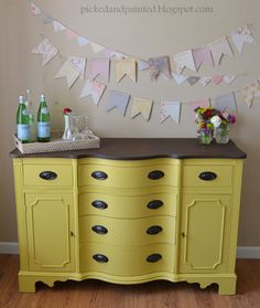 Sunny Yellow Buffet... (I have this same piece but mine has white paint with green undertones...shabby chic style)