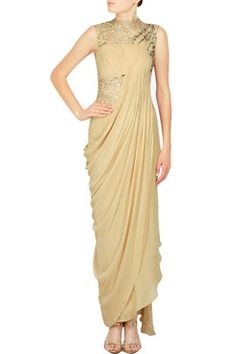 Gaurav Gupta Indian Designer Champagne Draped Kurta Set by  Shop now -www.onlineshop.com. #carma #carmaonline #fashion #designer #overlapkurta #elegant #Champagne #pretty #shopnow #onlineshopping