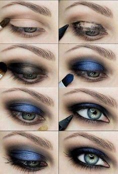 15 Step-By-Step Smoky Eye Makeup Tutorials for Beginners make up Eyeshadow Tutorial For Beginners, Smoky Eye Makeup Tutorial, Makeup For Beginners, Eye Tutorial, Makeup Pictorial, Blue Smokey Eye, Black Smokey, Eye Makeup Steps, Simple Eye Makeup