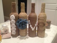 Fun craft with twine and bottles!!