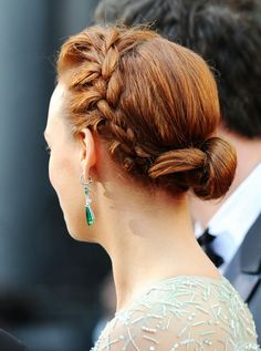Berenice Bejo a the Oscars 2012 - This braided up-do is unique and a great alternative to a boring bun.