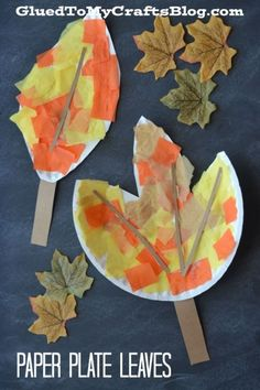 #gluedtomycrafts Paper Plate Leaf - Fall Kid Craft Idea - Tissue Paper and Paper Leaves Art Project