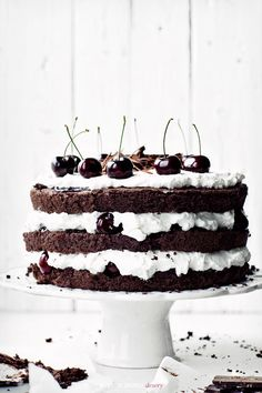 Black forest cake. (The recipe is in czech or hungarian or something, but it sure looks delicious. OK, polish apparently - long live google translate.)