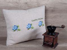Blue hydrangea flower embroidery decorative pillow cover, grey linen decorative pillow cover, kitchen decor ideas. 12*16 inch (31*39 cm)