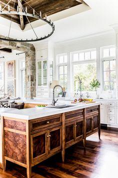 Burled walnut kitchen cabinets