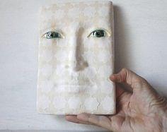 "Geometric Ottoman sculpture, Turkish tile pottery face, minimalist sculpture wall mask, sacred geometry Ottoman style art, white, 6""x8"""
