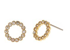 """A tiny wreath of crystals, the Holly Earrings will bring joy to your ears all year round. Wear these studs for a soft, everyday touch. - 1/2"""" ..."""