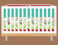 Modern Baby Aqua and Red Animals Modern Custom Crib by modifiedtot, $340.00 (no to the crib sheet) Aqua Bedding, Crib Sheets, Different Patterns, Nursery Ideas, Cribs, Kid, Unisex, Modern, Baby
