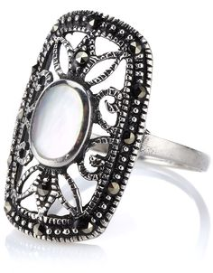 Sterling Silver Ornate Mother Of Pearl Ring | White | Accessorize