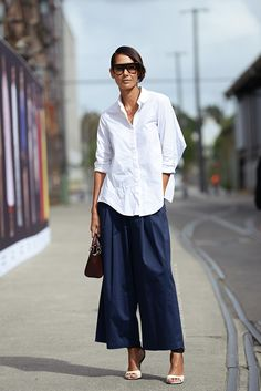 Navy blue culottes, white button down.