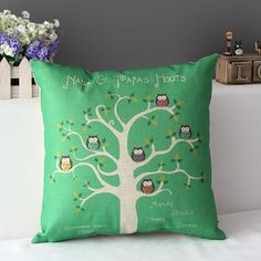 Owl Tree Style Cotton&linen Decor In Bed Sofa