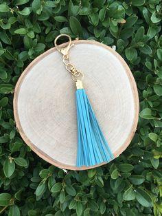 Handmade Light Blue Tassel Keychain  by ShopPineappleAvenue