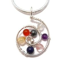 Chakra Jewelry Reiki Necklace Stone Pendant Sterling Silver Wire Wrap Multi Color Natural Gemstone