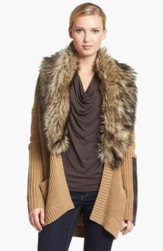 MICHAEL Michael Kors Faux Fur Collar Open Cardigan available at #Nordstrom
