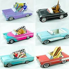 12 Classic Car Party Food Boxes – GM Collection – Party Ideas 50s Theme Parties, Cars Birthday Parties, 50th Birthday Party, Party Themes, Party Ideas, Grease Themed Parties, 50s Party Decorations, Quinceanera Decorations, Birthday Crafts