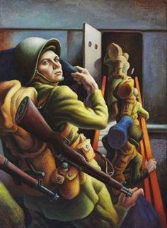 "Thomas Hart Benton (American): Oil Painting, ""Shipping Out"" [Private Collection] Diego Rivera, Jackson Pollock, Grant Wood, Kansas City, American Realism, American Artists, Harry Truman, Art Thomas, Social Realism"