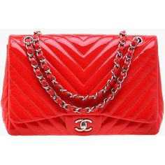 Pre-owned Chanel Coral Chevron Patent Quilted Jumbo Flap Bag (54.482.375 IDR) ❤ liked on Polyvore featuring bags, handbags, red, patent leather bags, chevron print bag, patent bag, chanel and quilted flap bag