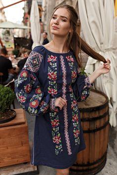 Linen Dress Ukrainian Vyshyvanka Dress Embroidered Women Ukrainian dress Gift for HER Gift for Wife Gift for Girl Stickerei Besticktes Kleid European Fashion, Modern Fashion, Ukrainian Dress, Ethno Style, Mode Boho, Folk Fashion, Womens Fashion, Embroidered Clothes, Boho Dress