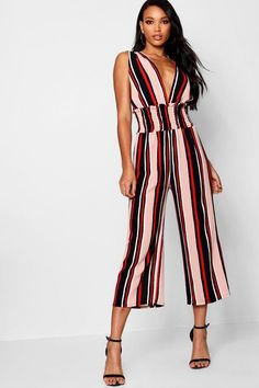 b0f088a0b181 Stripe Plunge Shirred Waist Cullotte Jumpsuit - boohoo, outfit inspo, what  to wear,