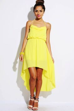 FOR VACATION AND DINNER !!! wear with gold belt =) #1015store.com #fashion #style Yellow chiffon cowl neck halter backless high low dress-$30.00