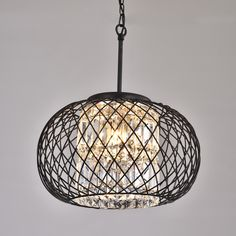Yanira Antique Black Ironwork Crystal Pendant Chandelier | Overstock.com Shopping - The Best Deals on Chandeliers & Pendants