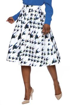 Midi length geo printed skirt with a white background and multicolor print.    Geo Print Skirt by Do & Be. Clothing - Skirts - Midi Clothing - Skirts - A Line New York City