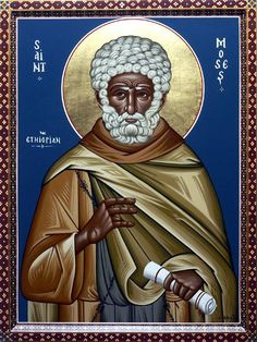 St. Moses the Black, an Ethiopian. Lived in the fourth century. Originally from Ethiopia, he was the servant of a rich nobleman who banished him for bad behavior. Not wanting to earn an honest living, he headed a gang of robbers. Moses spent several years as a thief, living a sinful life, but by God's great mercy he repented. Spending many years in monastic struggle, St. Moses was ordained to the diaconate and later to the priesthood, serving in this rank for fifteen years.