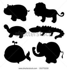 Jungle Animal Silhouettes Stock