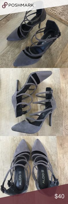 • pointed gray heel • In great used condition. Has some markings. (Pictured) heel height is 4 inches. Genuine leather. Aldo Shoes Heels