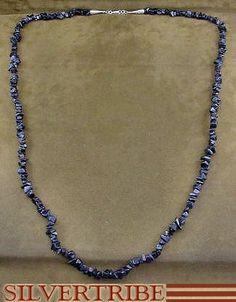 Southwestern Jewelry Sterling Silver Blue Goldstone Bead Necklace