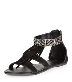 Black Leather Beaded Strap Fringed Sandals
