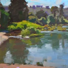 "Daily+Paintworks+-+""Riverside""+-+Original+Fine+Art+for+Sale+-+©+Carol+Marine"