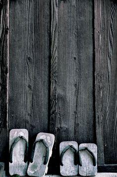 Japanese clogs, Geta 下駄 Rustic weathered grey wood. Looks so natural! #japan #shoes