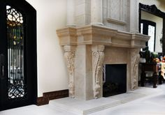 Custom Marble and Cast Stone Products. Stunning cast stone fireplace mantel with overmantel. A four sided surround with fine details. columns are on top of the mantel shelf artisan kraft Sandstone Fireplace, Fireplace Mantel Surrounds, Marble Fireplace Mantel, Stone Fireplace Mantel, Home Fireplace, Marble Fireplaces, Fireplace Design, Stone Fireplaces, Mantel Shelf