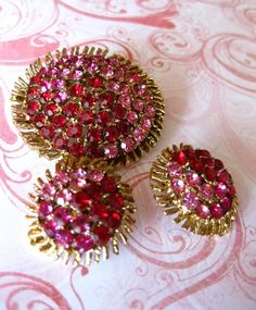 Vintage Pink Rhinestone Brooch and Earrings Set