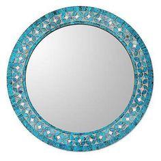 Glass mosaic wall mirror, 'Turquoise Blossom' - Round Turquoise Glass Mosaic Tile Mirror with Flower Motif