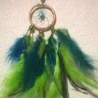 Carnival Peacock Dream Catcher with Kingman mine turquoise cabochon