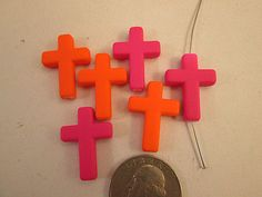 Close Out Beads Rubberized Plastic Cross Neon Colors by FLcowgirls, $1.29