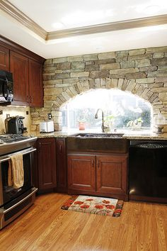 Arch could have been a little smaller but creative none the less. Stone Feature Wall, Feature Walls, Yorba Linda, Stone Walls, Arched Windows, Bath Ideas, Bath Remodel, Kitchen And Bath, Sweet Stuff